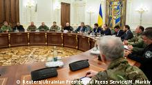 26.11.2018 Ukrainian President Petro Poroshenko chairs a meeting with members of the National Security Council in Kiev, Ukraine November 26, 2018. Mykhailo Markiv/Ukrainian Presidential Press Service/Handout via REUTERS ATTENTION EDITORS - THIS IMAGE WAS PROVIDED BY A THIRD PARTY.