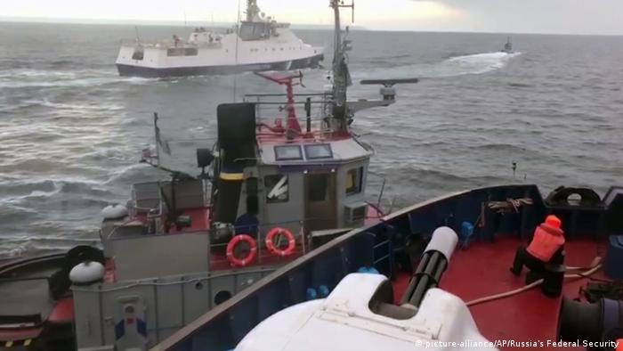 A Russian coast guard image of a Ukrainian marine boat in the Strait of Kerch