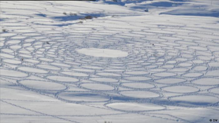 geometric shapes carved into snow (DW)