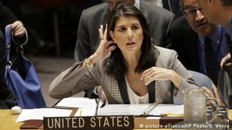 United States Ambassador to the United Nations Nikki Haley arrives for a Security Council meeting about escalating tensions between the Ukraine and Russia