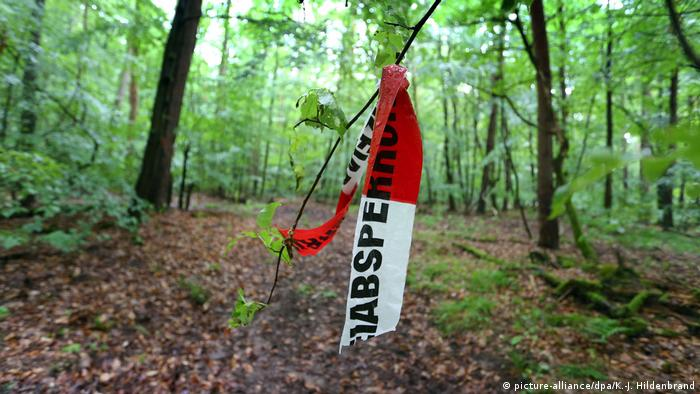 Police tape indicates the place where Markus Würth was discovered in a forest after being kidnapped by unknown assailants