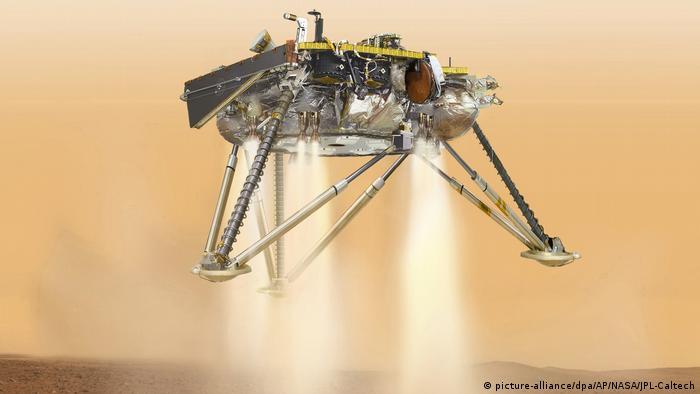 A NASA.supplied illustration of the InSight lander