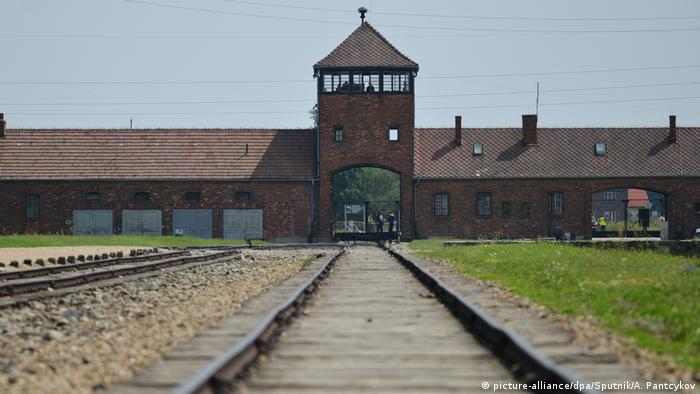 Train tracks at the entrance to Auschwitz-Birkenau concentration camp