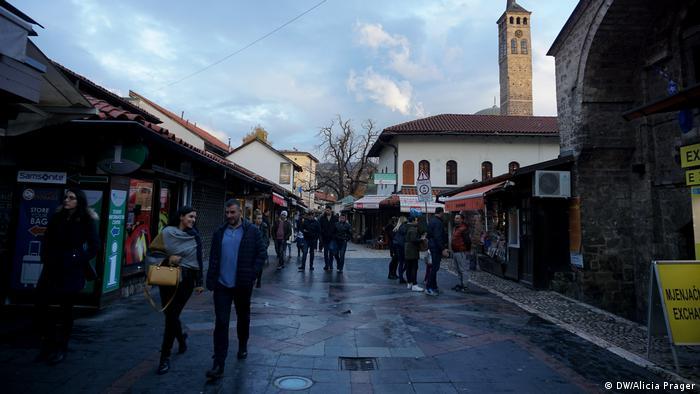 A busy street in Sarajevo