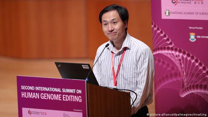 He Jiankui at the Human Genome Editing summit in Hong Kong