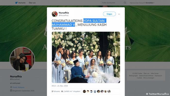 Screenshot Twitter l Malaysia - Der malaysische König und Sultan von Kelantan Muhammad V heiratet. (Twitter/Nursafhia)