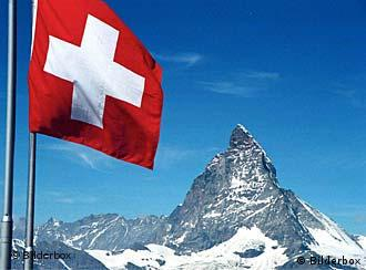 Swiss flag with the Matterhorn in the distance
