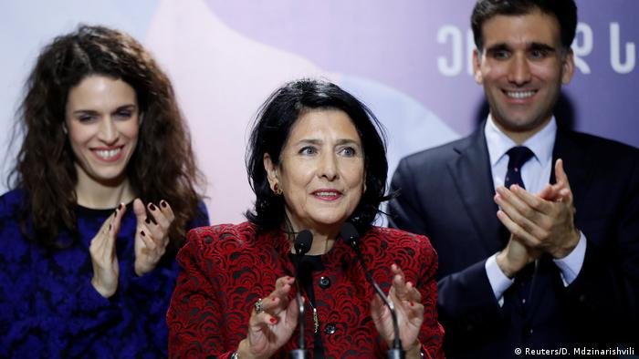 Presidential candidate Salome Zurabishvili, accompanied by her daughter Ketevan and son Teimuraz