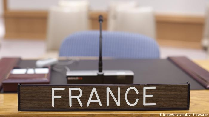 France's identitying placemarker sits on a UN desk