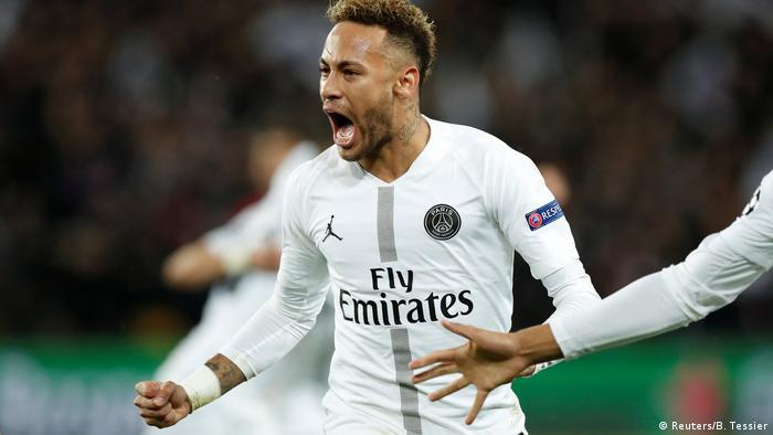 Paris St Germain's Neymar celebrates a goal
