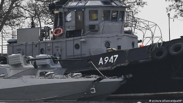Damaged Ukrainian ship