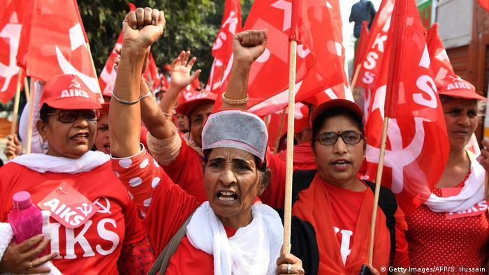 Indien Proteste von Bauern in Dehli