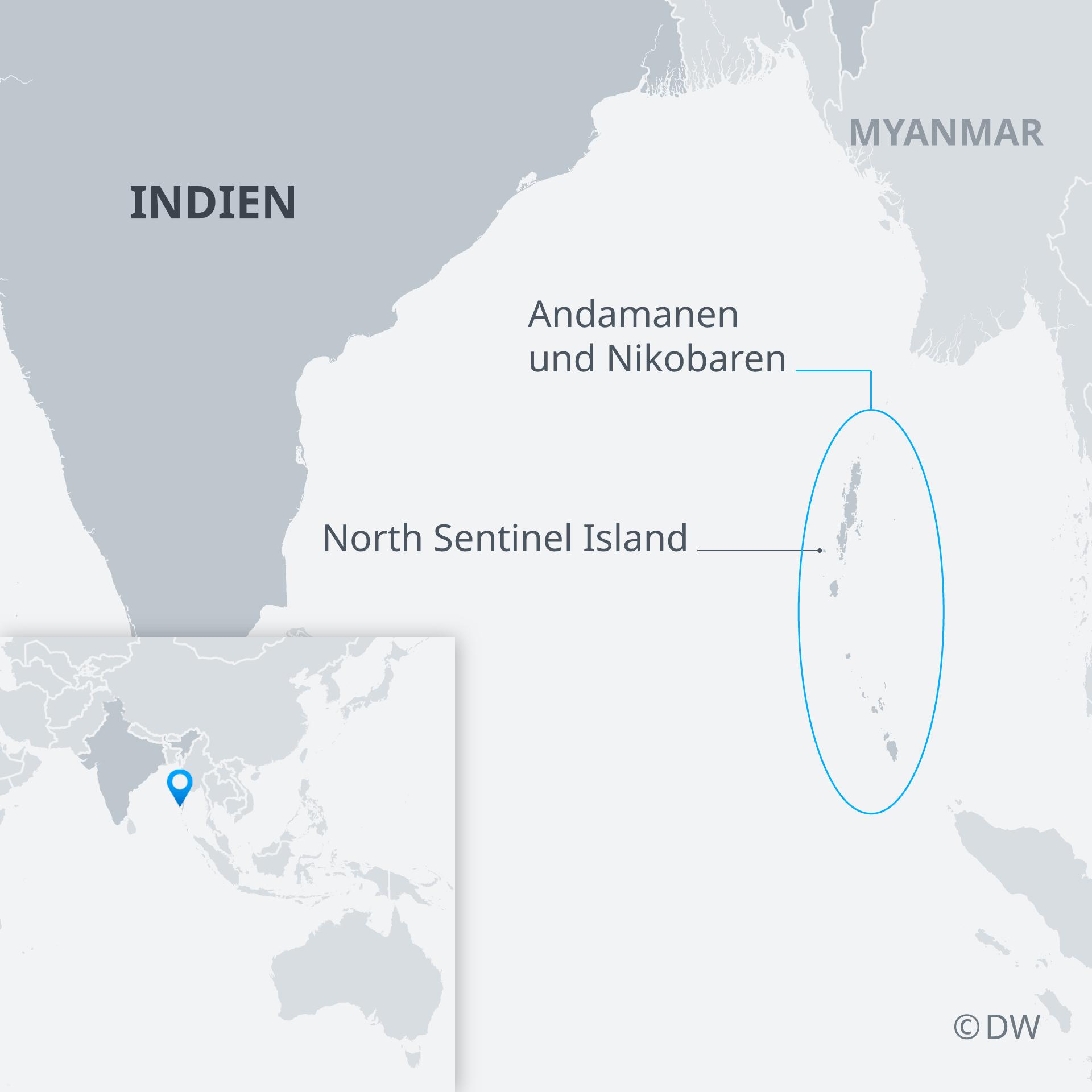 Karte North Sentinel Island DE