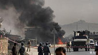 ISAF soldiers at the site of a car bombing in Kabul