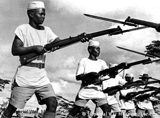 African soldiers training with guns in WWII