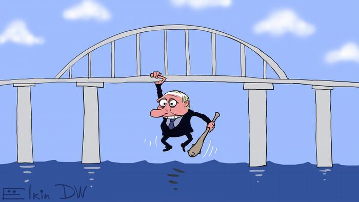 Пуин с дубинкой висит на Керченском мосту - карикатура Сергея Елкина