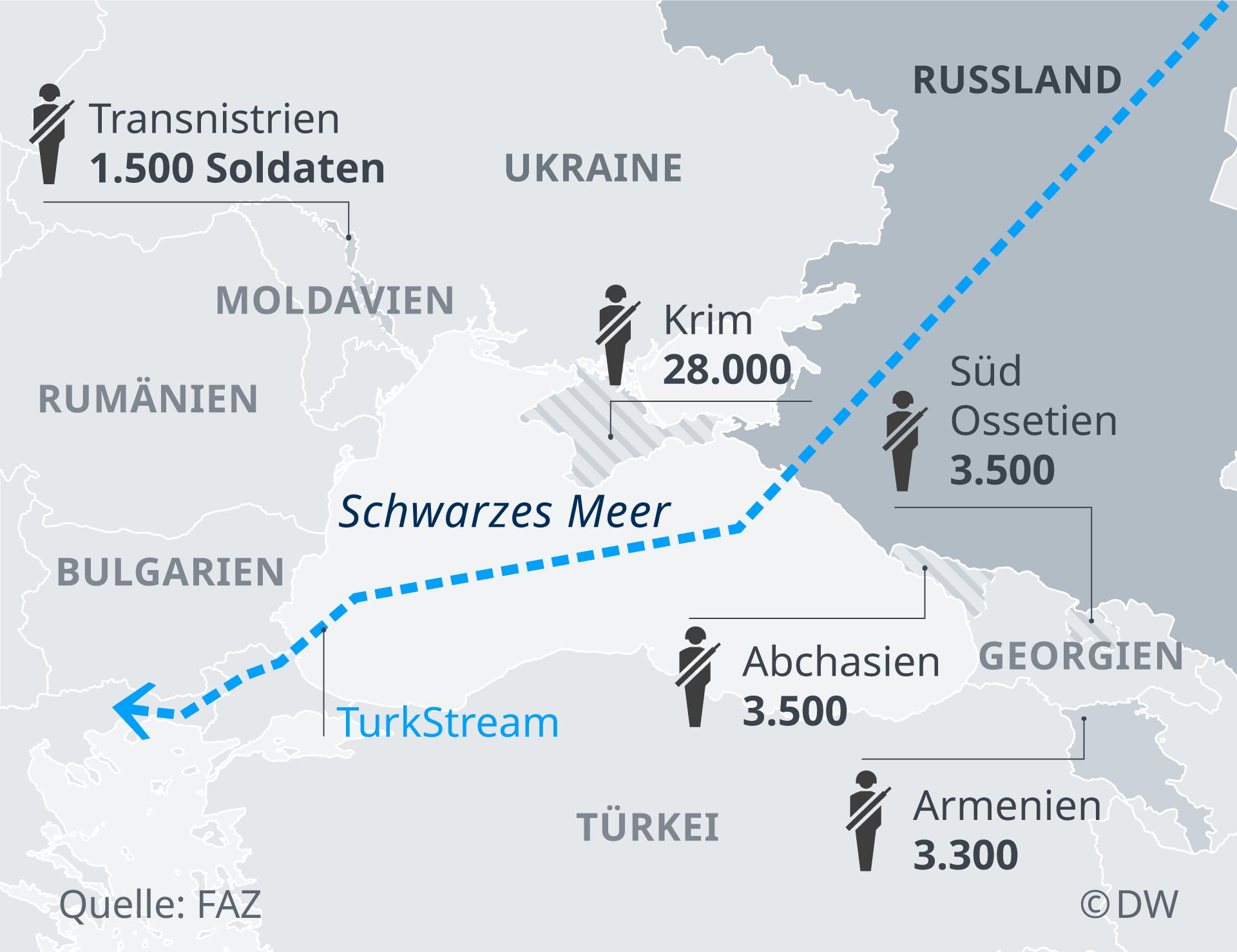 Infografik Karte stationierte russsische Truppen am schwarzen Meer DE