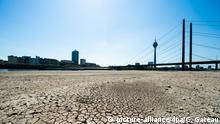 Deutschland Düsseldorf Niedriger Wasserstand im Rhein