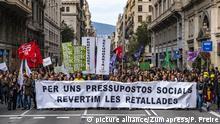 Spanien Katalonien - Proteste gegen wirtschaftliche Einschnitte in Barcelona