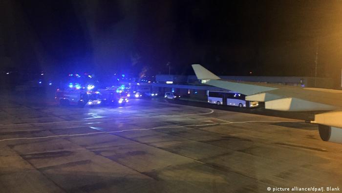 German Chancellor Angela Merkel's plane makes an unscheduled landing at the Cologne/Bonn airport