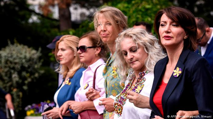 Pristina solidarity march for victims of wartime sexual violence
