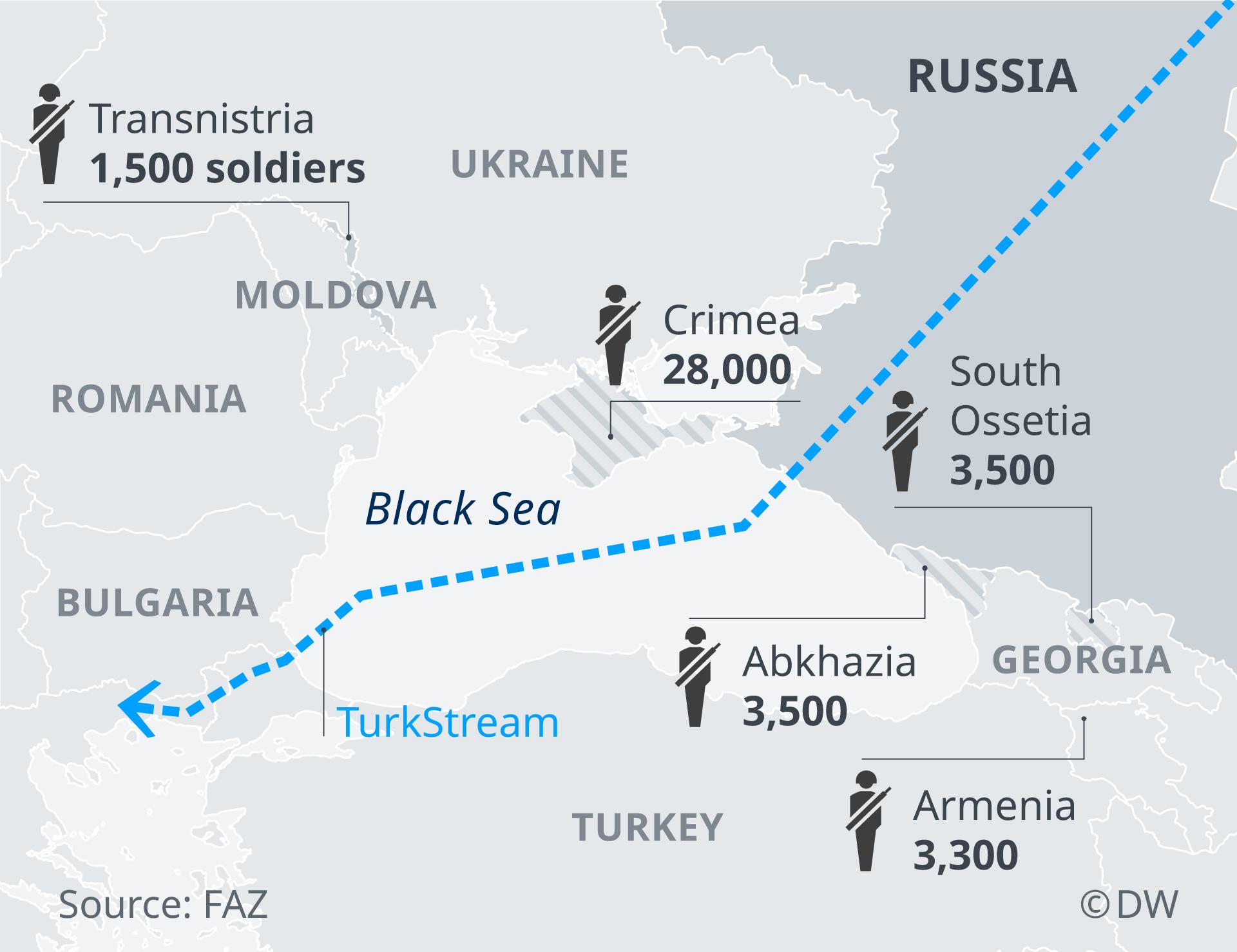 Infografik Karte stationierte russsische Truppen am schwarzen Meer EN