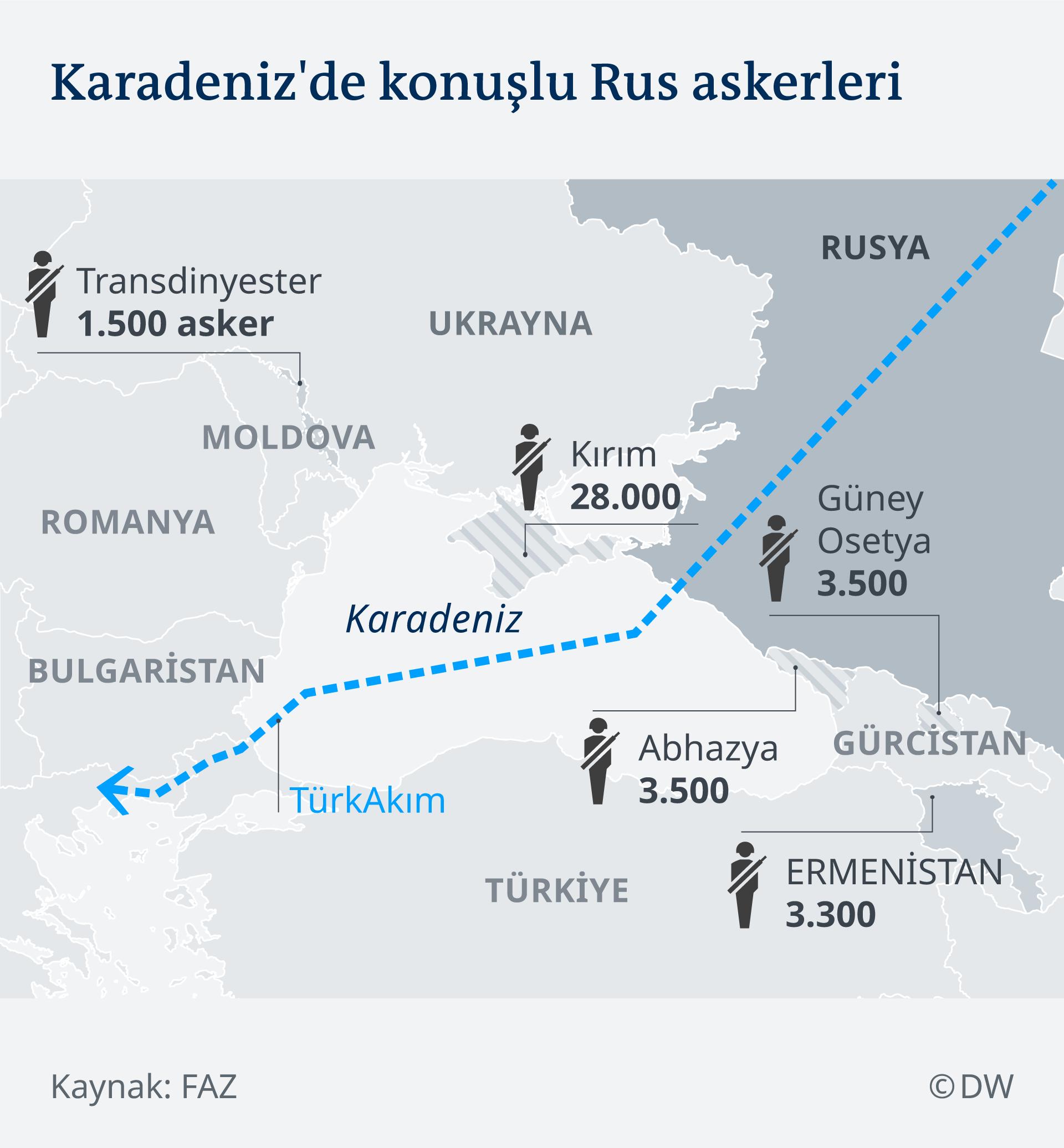 Infografik Karte stationierte russsische Truppen am schwarzen Meer TR