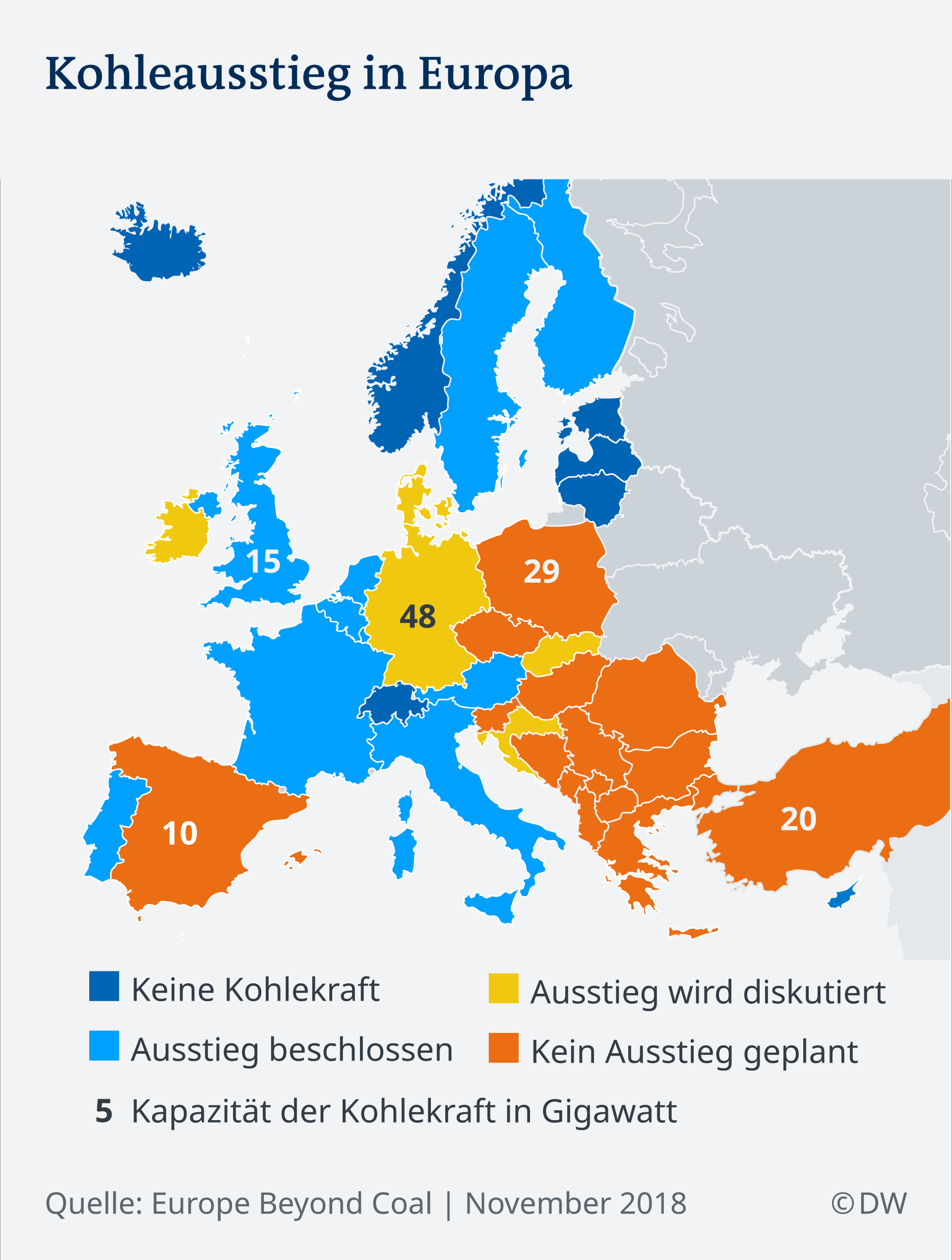 Infografik Karte Kohleausstieg Europa DE