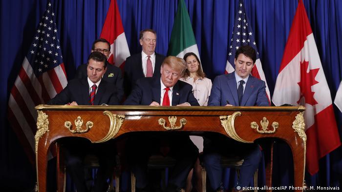 Президент США Дональд Трамп, президент Мексики Енріке Пенья Ньєто, прем'єр-міністр Канади Джастін Трюдо