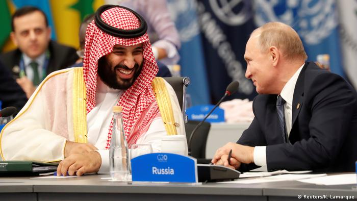 Russia's Vladimir Putin and Saudi Arabia's Prince Mohammed bin Salman during chummier times at the 2018 G20 summit in Argentina.