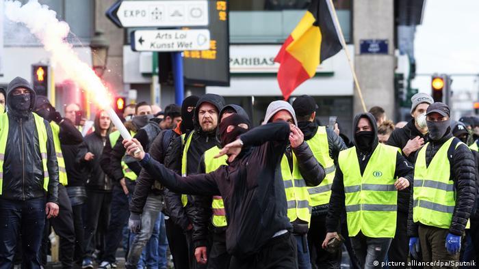 Під час протесту жовтих жилетів у Бельгії наприкінці листопада 2018 року