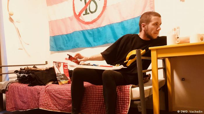 A resident in Berlin's home for LGBTQI refugees