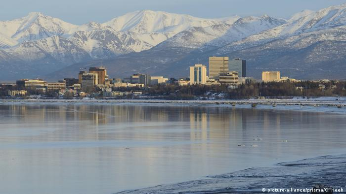 The city of Anchorage with mountains in the background