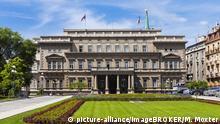 Regierungspalast des Präsidenten, Savski Venac, Neu-Belgrad, Belgrad, Serbien, Europa | Verwendung weltweit, Keine Weitergabe an Wiederverkäufer.