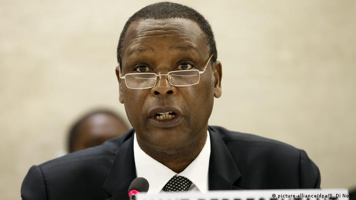 Pierre Buyoya, High Representative of the African Union for Mali and the Sahel, addresses his statement during the 23rd special session of the Human Rights Council on Boko Haram,