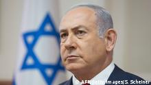 Israeli Prime Minister Benjamin Netanyahu attends the weekly cabinet meeting at the Prime Minister's office in Jerusalem on September 16, 2018. (Photo by Sebastian Scheiner / POOL / AFP) (Photo credit should read SEBASTIAN SCHEINER/AFP/Getty Images)