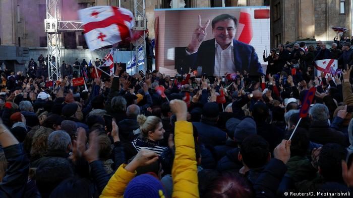 Саакашвілі звернувся до учасників мітингу через відеотрансляцію