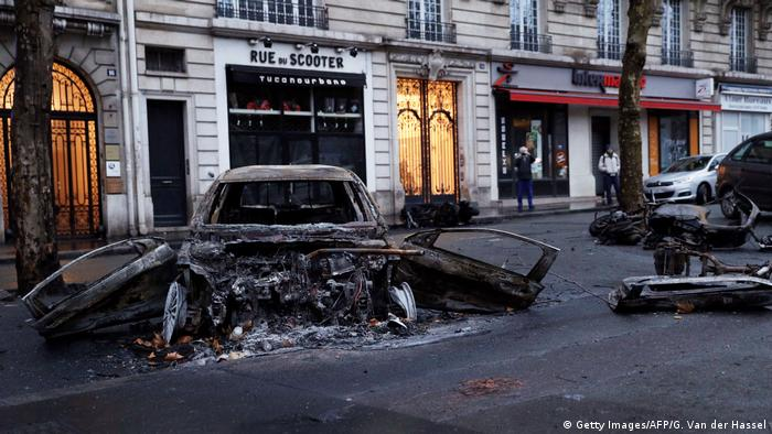 Cars torched in central Paris during the weekend clashes