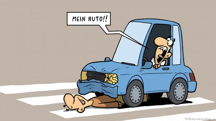 Cartoon showing a driver running over someone in his car
