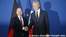 Europa Finanzen l Steuer auf Finanztransaktionen - Deutscher und Französischer Finanzminister Scholz und Le Maire