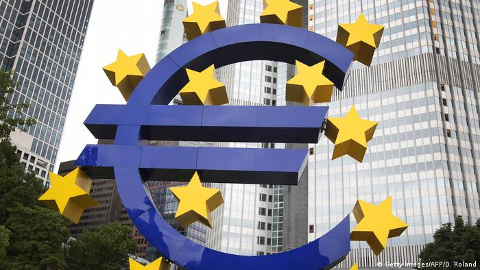 A giant euro sign outside the former headquarters of the ECB