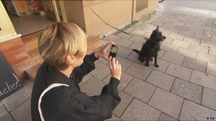Carola Klöckner photographs a dog (DW)