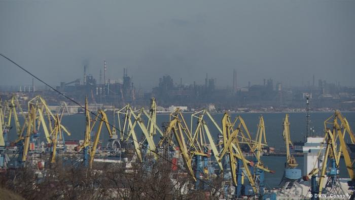 View of Mariupol port with Avovstal steelworks in the background