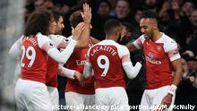 Arsenal v Tottenham Hotspur - Premier League - Emirates Stadium. Alexandre Lacazette of Arsenal celebrates with Pierre-Emerick Aubameyang after scoring his teams third goal during the Premier League match at the Emirates Stadium, London. Picture date: 2nd December 2018. Picture credit should read: Matt McNulty/Sportimage via PA Images URN:40007897 |
