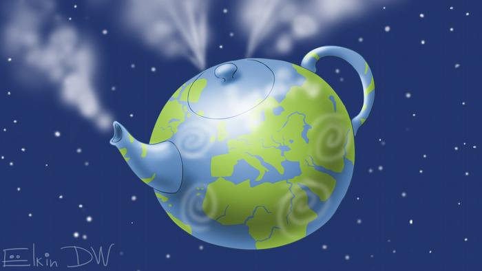 планета Земля в виде чайника - карикатура Сергея Елкина о глобальном потеплении