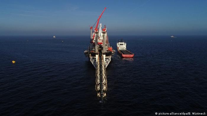 Nord Stream 2 pipeline being laid near the German island of Rügen