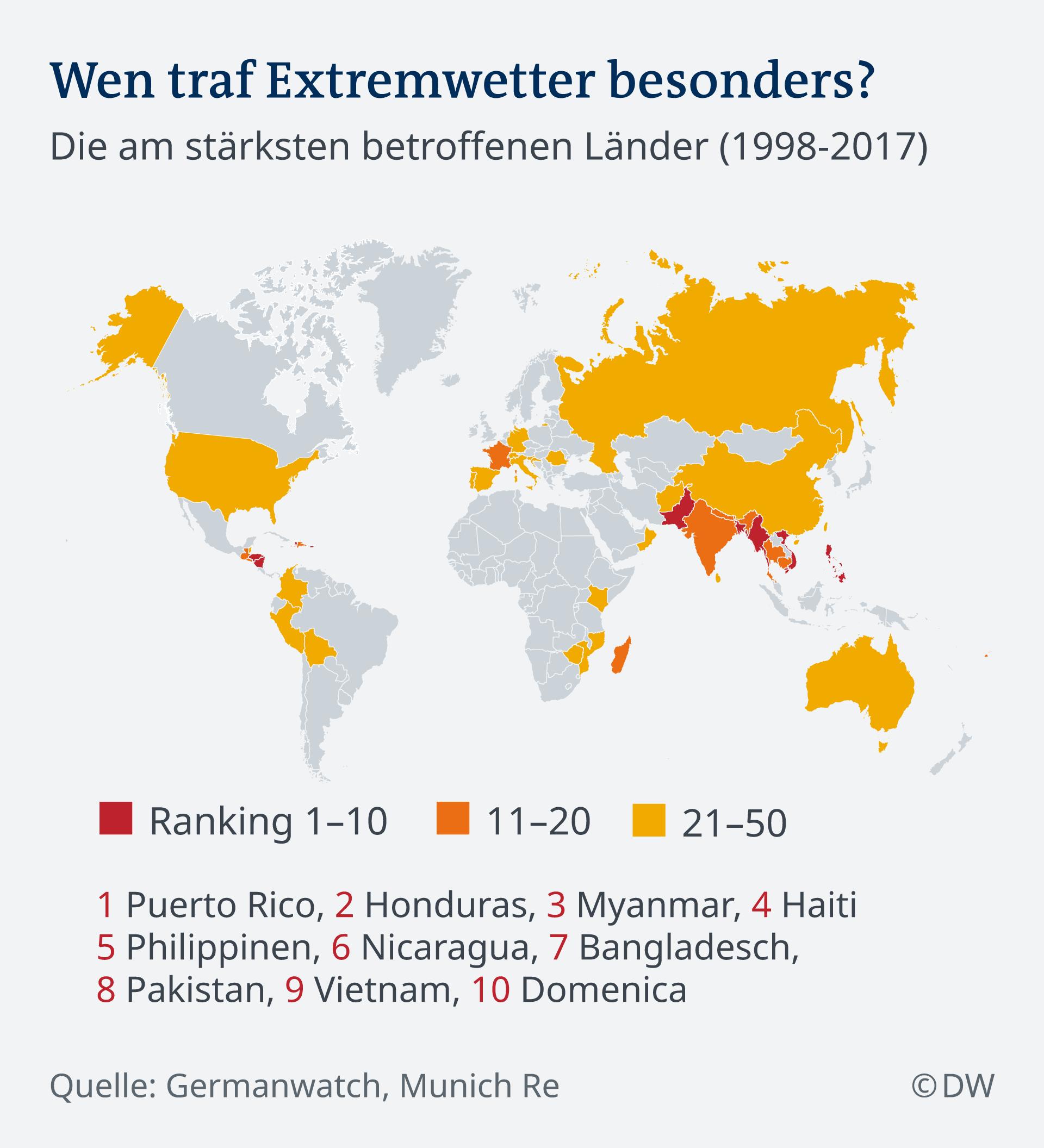 Infografik Karte Extremwetter weltweit DE
