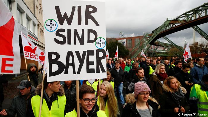 Bayer employees protesting