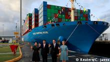(L-R) Peng Liyuan, wife of China's President Xi jinping, China's President Xi Jinping, Panama's President Juan Carlos Varela and first lady Lorena Castillo pose for a picture at the Cocoli locks during a visit to the expanded Panama Canal, in Panama City, Panama December 3, 2018. REUTERS/Carlos Jasso