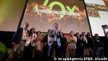 Spanish far-right party Vox leader Santiago Abascal (C) celebrates during an election night party in Seville, Andalusia, southern Spain, late 02 December 2018. A total of 12 MPs of Vox have won a seat in the Andalusian regional Parliament for fist time since its foundation. Far right party Vox celebrates the Andalusian regional election s results !ACHTUNG: NUR REDAKTIONELLE NUTZUNG! PUBLICATIONxINxGERxSUIxAUTxONLY Copyright: xRafaxAlcaidex GRAF638 20181203-636794239783050206